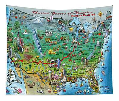 Historic Route 66 Usa Tapestry