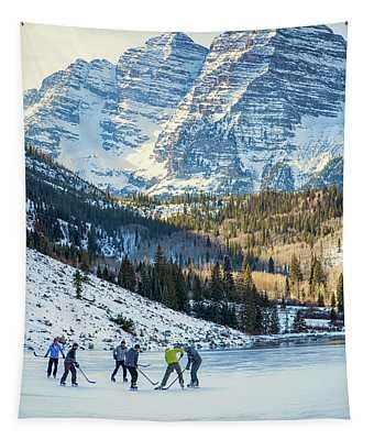 Hockey On Maroon Lake Maroon Bells Aspen Colorado Tapestry