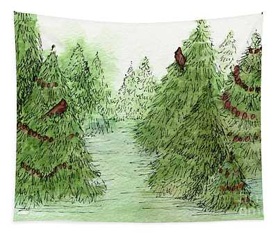 Holiday Trees Woodland Landscape Illustration Tapestry