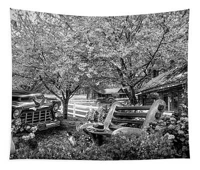 Home Is Where The Heart Is In Black And White Tapestry