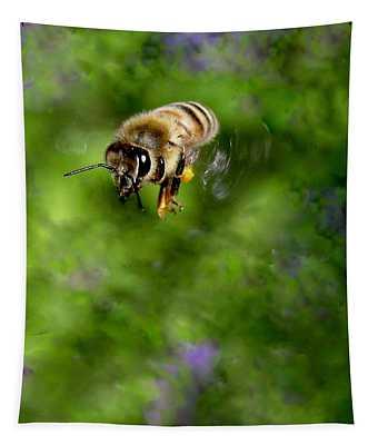 Honeybee In Flight Tapestry
