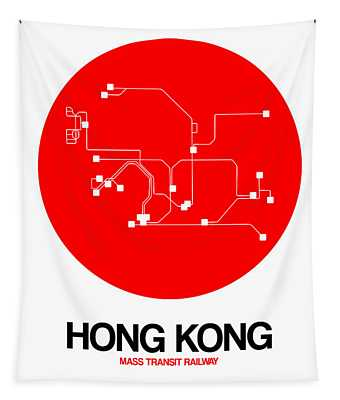 Hong Kong Red Subway Map Tapestry