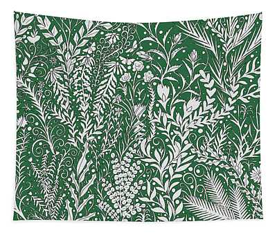 Horizontal Tapestry Design In Green With Flowers, Leaves And Small Butterflies Tapestry