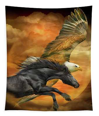 Horse And Eagle - Spirits Of The Wind  Tapestry
