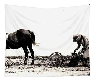 Horse Plow II Tapestry