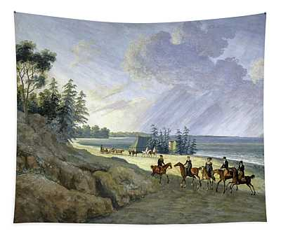 'horseriding Along The Baltic', 1810, Gouache On Paper. Tapestry