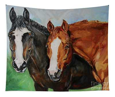 Horses In Oil Paint Tapestry