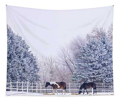 Horses In The Snow Tapestry