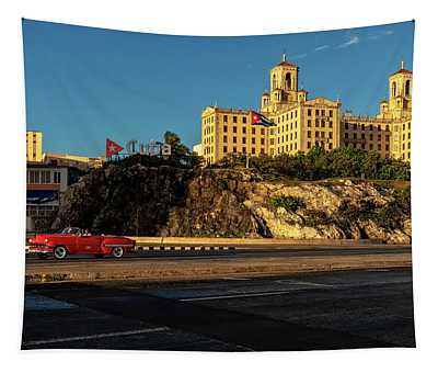 Hotel Nacional And Red Car Tapestry
