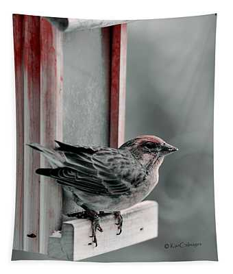 House Finch On Feeder Tapestry