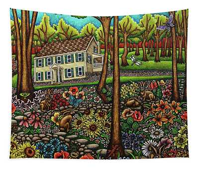 Tapestry featuring the painting House In The Meadow  by Amy E Fraser