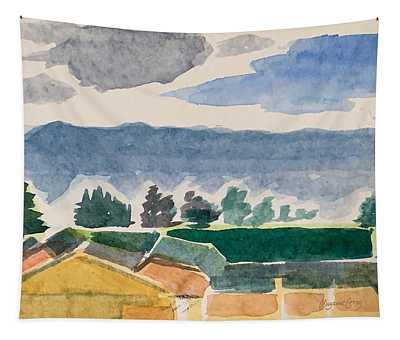 Houses, Trees, Mountains, Clouds Tapestry