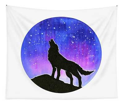 Howling Wolf Silhouette Galaxy Tapestry