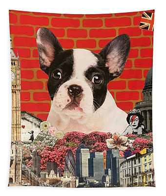 Hug My Frenchie; 2015, Mixed Media Tapestry