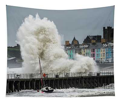 Huge Wave Hitting Aberystwyth Seafront Tapestry