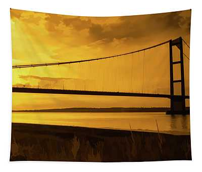Humber Bridge Golden Sky Tapestry