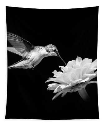 Hummingbird And Flower Black And White Tapestry