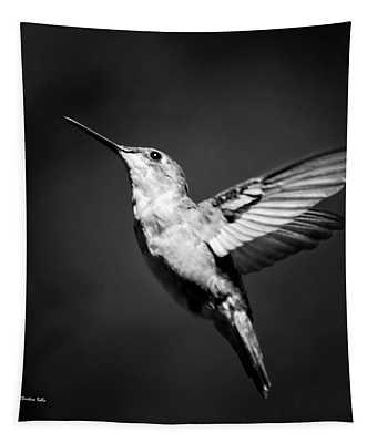 Hummingbird Flight Bw Square Tapestry