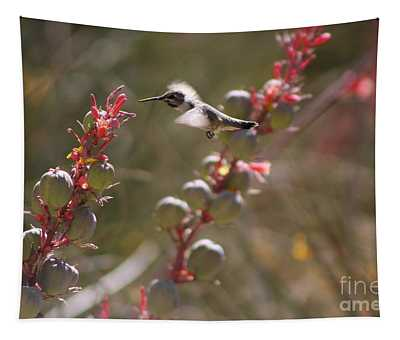 Hummingbird Flying To Red Yucca 2 In 3 Tapestry