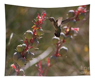 Hummingbird Flying To Red Yucca 3 In 3 Tapestry