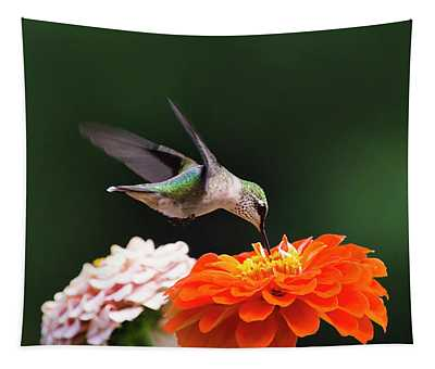 Tapestry featuring the photograph Hummingbird In Flight With Orange Zinnia Flower by Christina Rollo