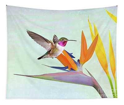 Hummingbird In Paradise Tapestry