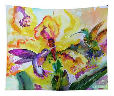 Hummingbird Song Watercolor Tapestry