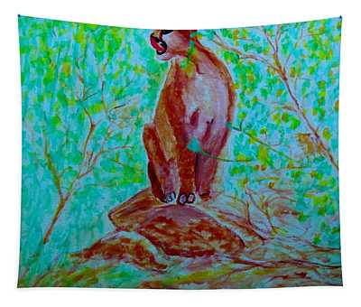 Hungry Mountain Lion Tapestry