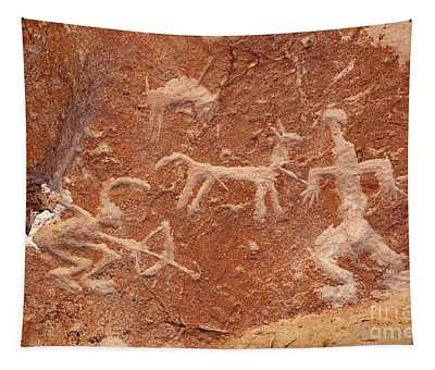 Hunter With Bow And Arrow Petroglyph Ofragia Chile Tapestry