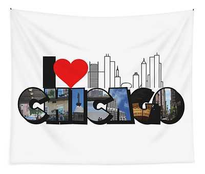 I Heart Chicago Big Letter Tapestry