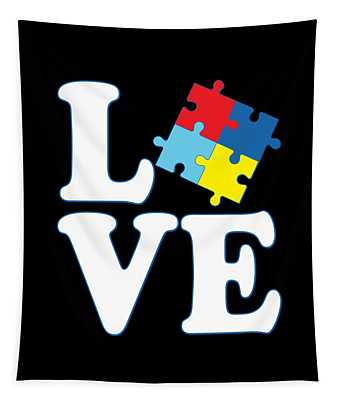 Tapestry featuring the digital art I Love Autism by Flippin Sweet Gear
