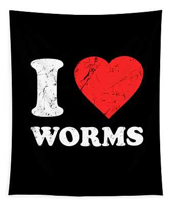 I Love Worms Tapestry