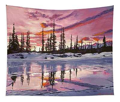 Iced Lake At Sunset Tapestry
