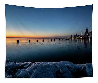 Icy Chicago Skyline At Dawn  Tapestry