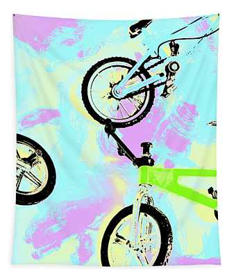 Illustrative Bike Pastel Tapestry