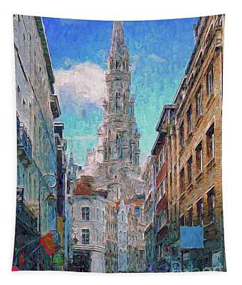 In-spired  Street Scene Brussels Tapestry