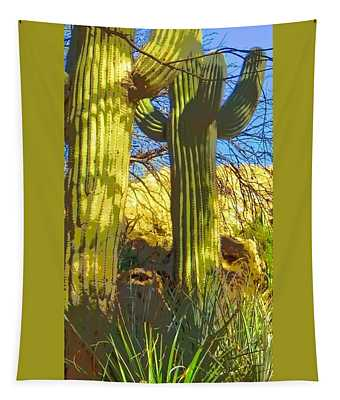 In The Shadow Of Saguaros Tapestry