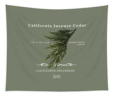 Incense Cedar - White Text Tapestry