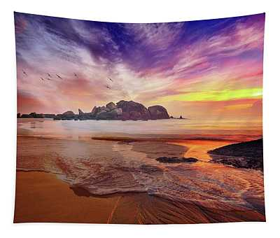 Incoming Tide At Sunset Tapestry