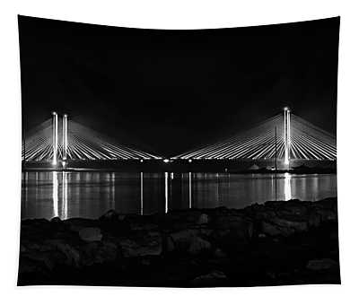 Indian River Bridge After Dark In Black And White Tapestry