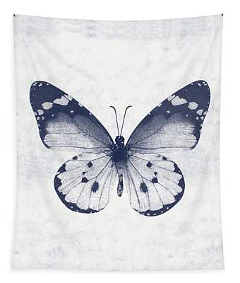 Indigo And White Butterfly 1- Art By Linda Woods Tapestry