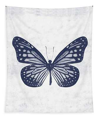 Indigo And White Butterfly 2- Art By Linda Woods Tapestry