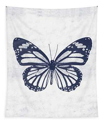 Indigo And White Butterfly 3- Art By Linda Woods Tapestry