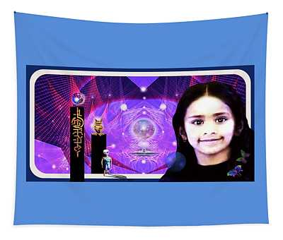 Tapestry featuring the mixed media Indigo Child's Dream  by Hartmut Jager