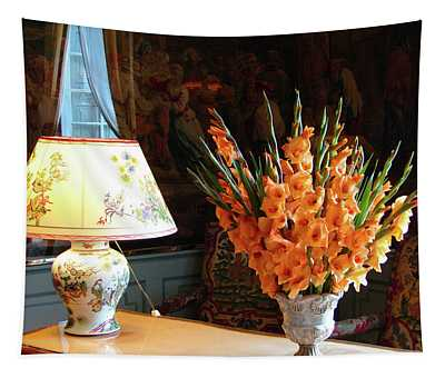 Interior With Antique Chinese Lamp And Vase With Orange Gladiolus Tapestry