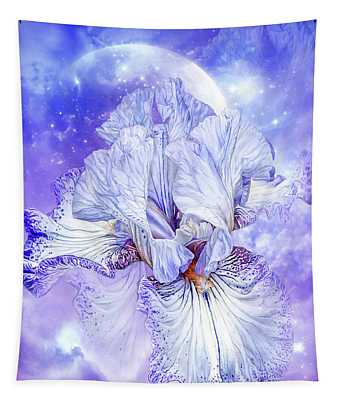 Tapestry featuring the mixed media Iris - Goddess Of Dreams by Carol Cavalaris