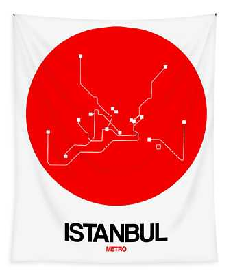 Istanbul Red Subway Map Tapestry