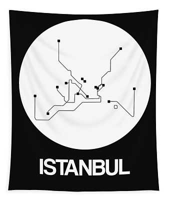 Istanbul White Subway Map Tapestry