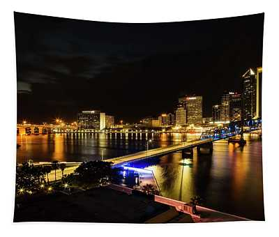 Jacksonville Skyline By Night Tapestry