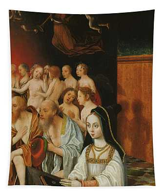 Jan Mostaert -haarlem, Ca. 1475-1555/56-. Wing Of A Diptych With The Souls Of The Just And A Dono... Tapestry